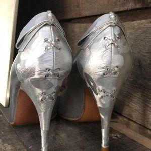Stuart Weitzman Silver Bow Back Jeweled Heels